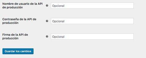 casillas de credenciales de PayPal en Woocommerce