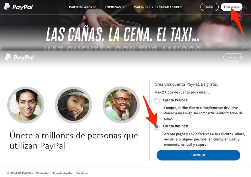 Cuenta de PayPal en Woocommerce business