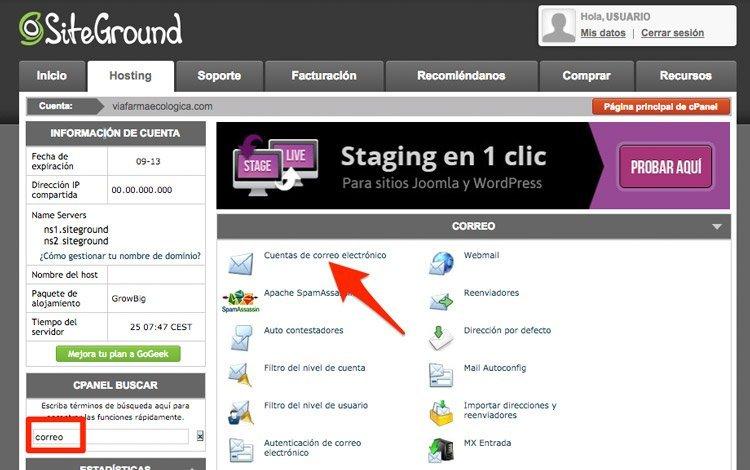 panel cuentas de correo en cPanel de Siteground