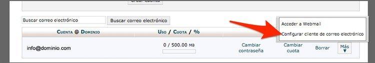 datos de configuracion de cliente de correo en cPanel