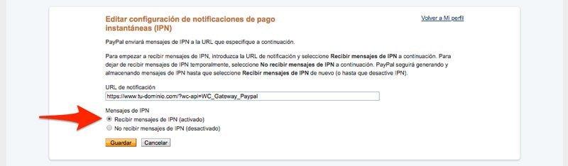 Notificaciones de IPN en PayPal y Woocommerce