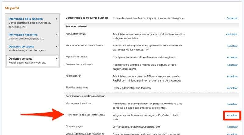 notificaciones de pago instantaneas en PayPal