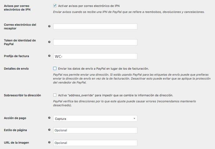 opciones avanzadas en PayPal de woocommerce