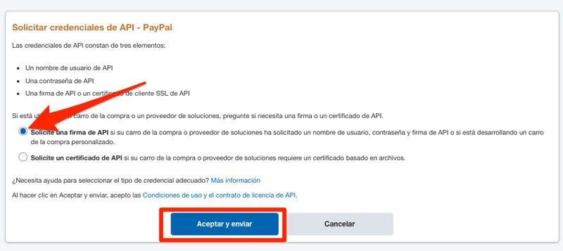 solicitar API de una cuenta PayPal para Woocommerce