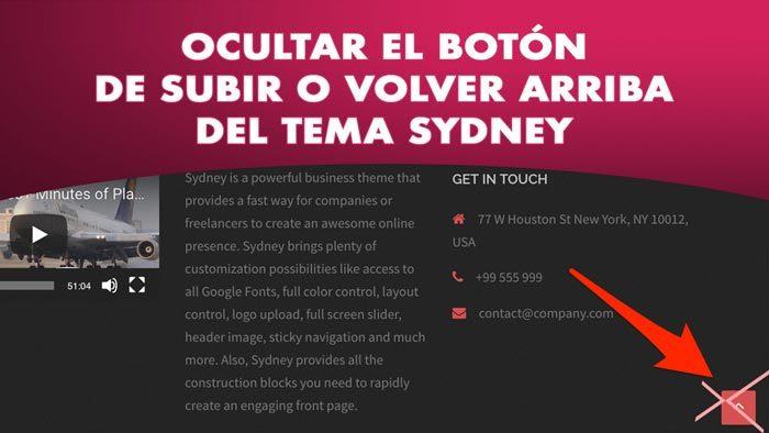 Ocultar el botón Volver arriba o subir del tema Sydney