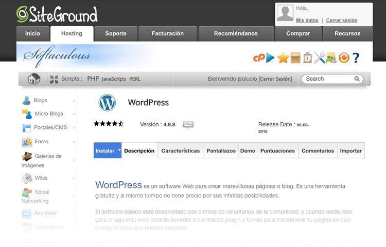 Instalar WordPress en hosting Siteground