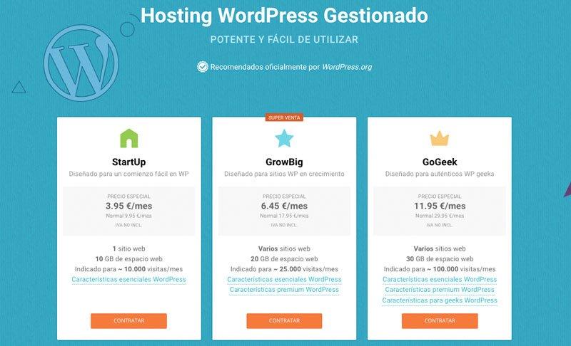 página web profesional con siteground