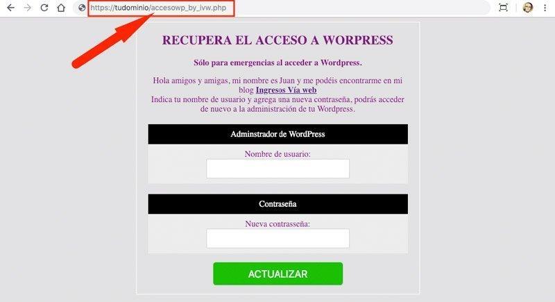 Archivo de creación de acceso a wWordPress