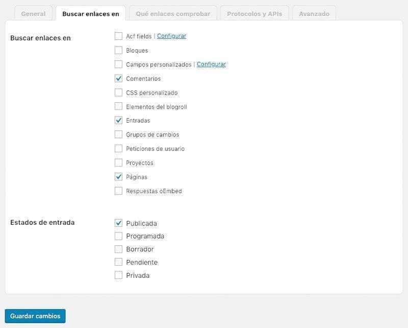 Opciones de búsqueda de enlaces rotos en WordPress