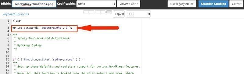 Código para restaurar la contraseña desde funtions.php