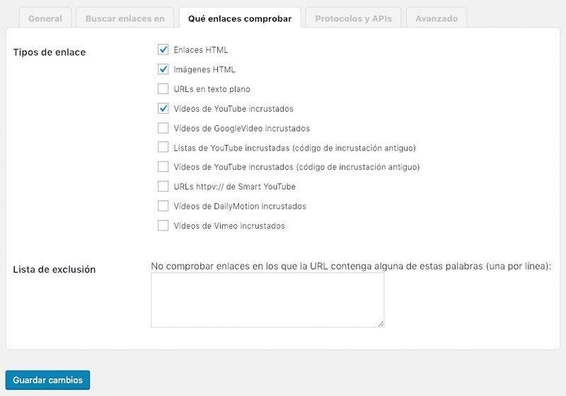 Comprobar tipos de enlaces rotos en WordPress