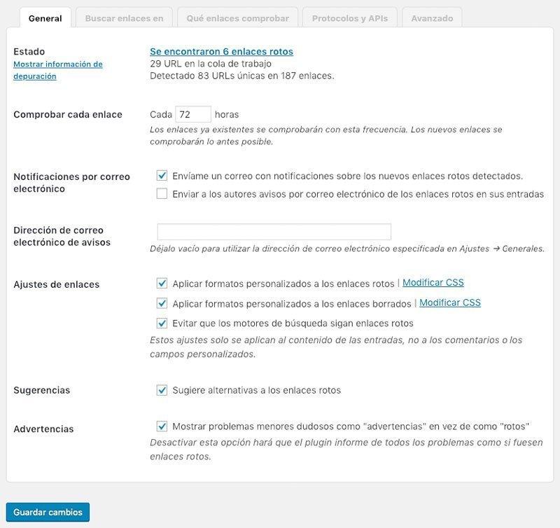 Opciones generales para encontrar enlaces rotos en WordPress
