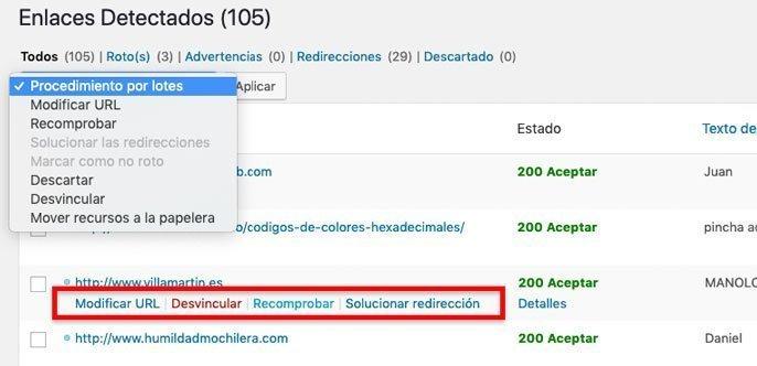 Opciones tras encontrar enlaces rotos en WordPress