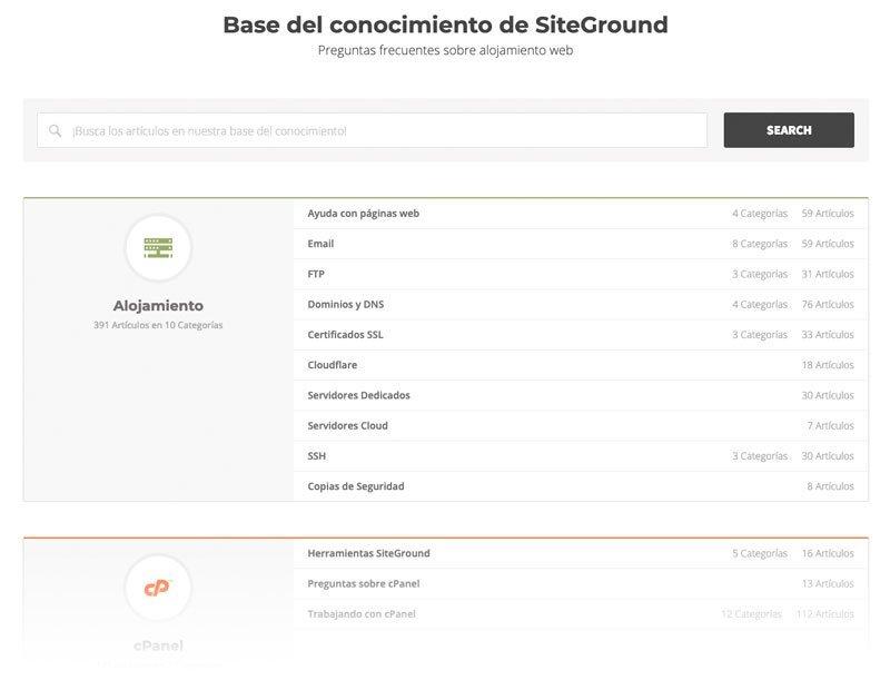 Base de conocimientos de SiteGround