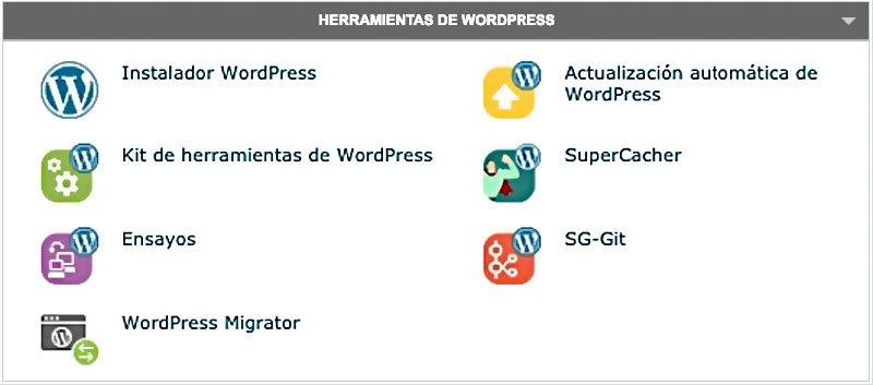 Herramientas para WordPress en cPanel de SiteGround