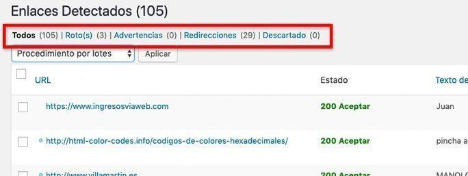 Listados tras encontrar enlaces rotos en WordPress