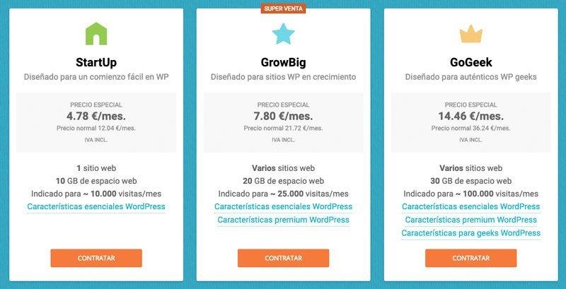 precios mejor hosting para WordPress en SiteGround