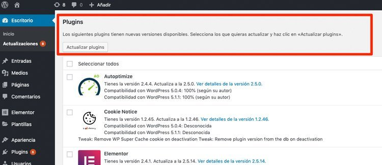 Actualizar plugins de WordPress