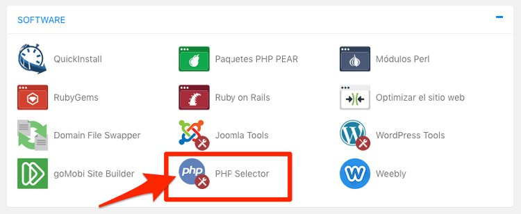 Cambiar versión de PHP