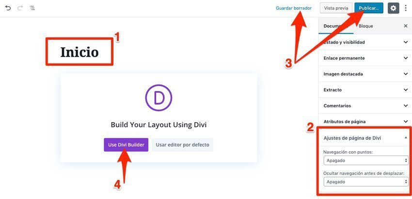 Configurar página para carrusel a pantalla completa en Divi