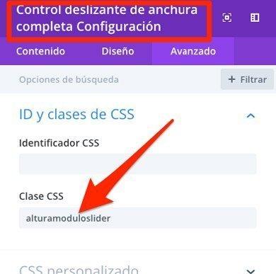 Nombre para la clase del módulo de slider a pantalla completa