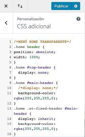 codigo CSS para la barra del tema Extra