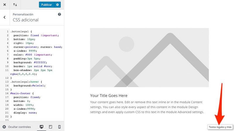 CSS añadido en el personalizador de WordPress
