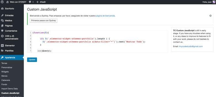 Código script en plugin TC Custom Javascript para traducir Sydney