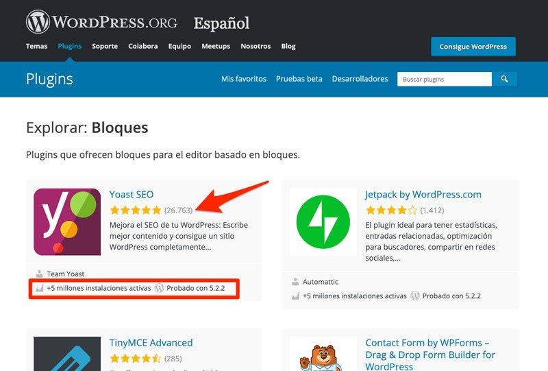 Instalaciones y popularidad de un plugin de WordPress