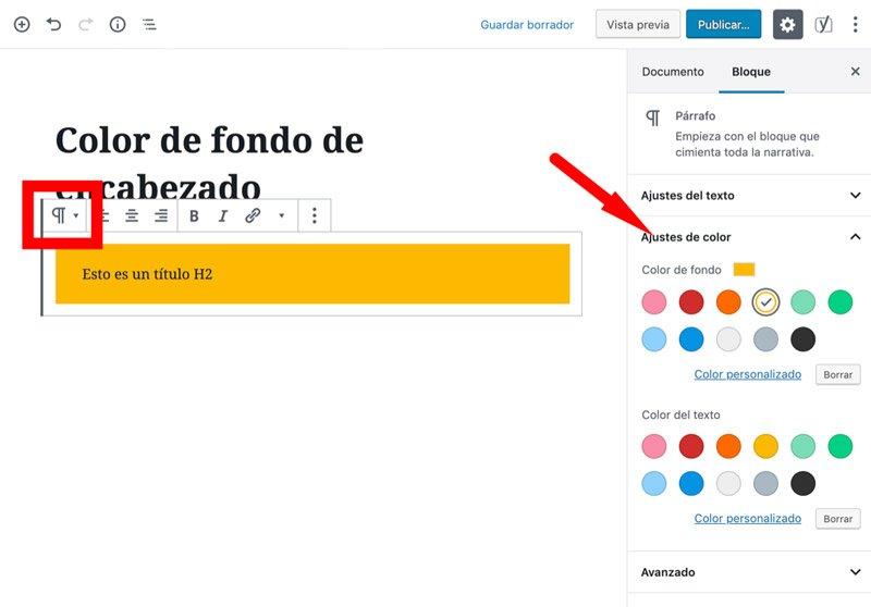 fondo de color en encabezados de WordPress desde bloque de párrafo