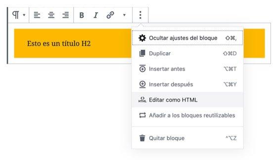 Editar como HTML en Gutenberg