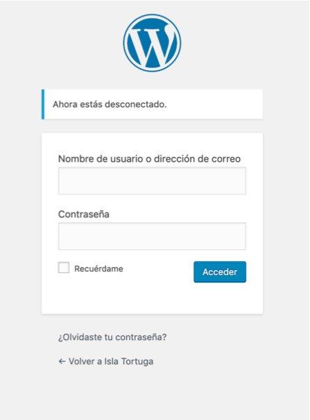 Formulario de acceso a WordPress