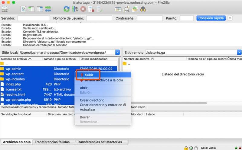Subir archivos de WordPress desde FTP
