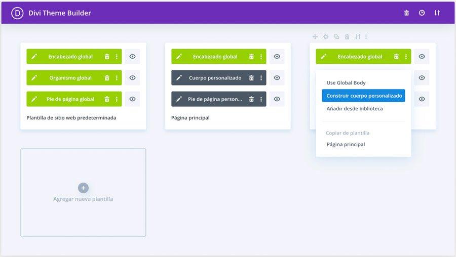 configuración personalizada de plantilla en DIVI 4