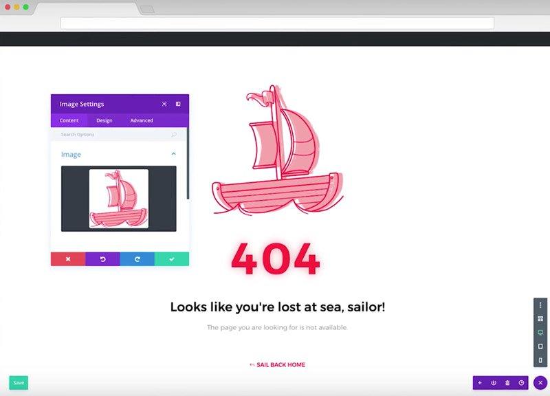 Página de error 404 creada con DIVI