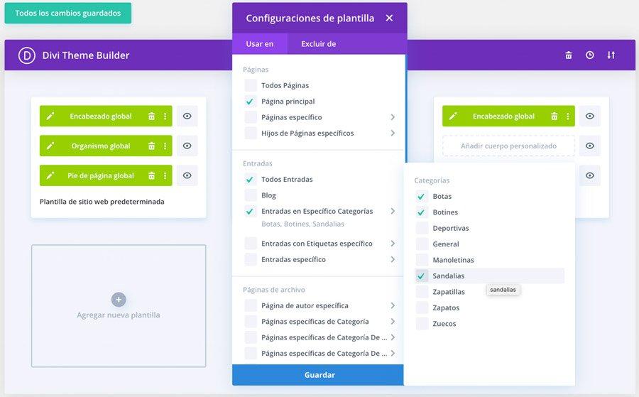 Selección de diseño para diferentes categorías de DIVI