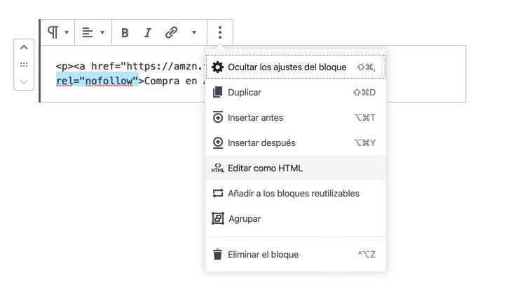 """Poner enlace """"nofollow"""" o """"sponsored"""" manualmente a través de HTML"""