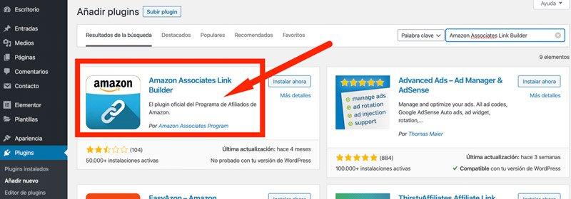 Instalación de Amazon Associates Link Builder