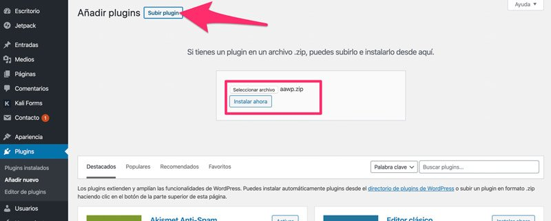 instalacion del plugin AAWP en WordPress