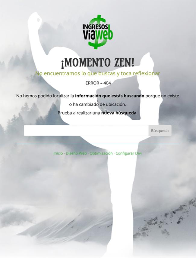 pagina error 404 en WordPress para escritorio