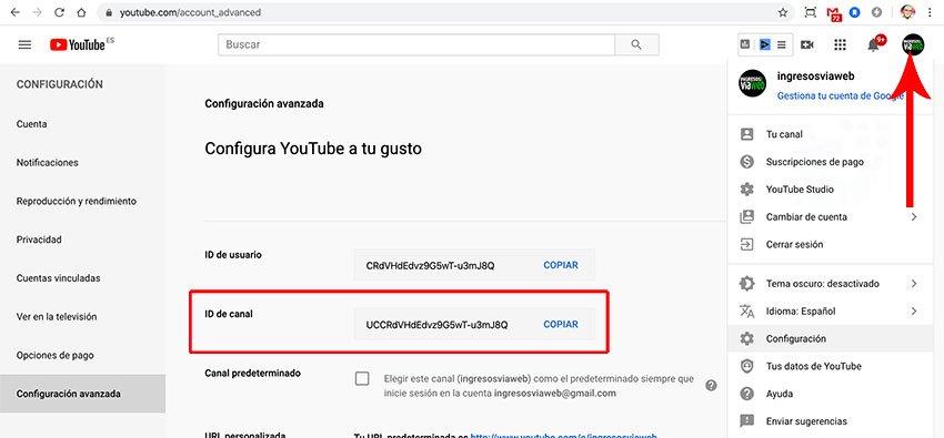Configuración del canal de Youtube