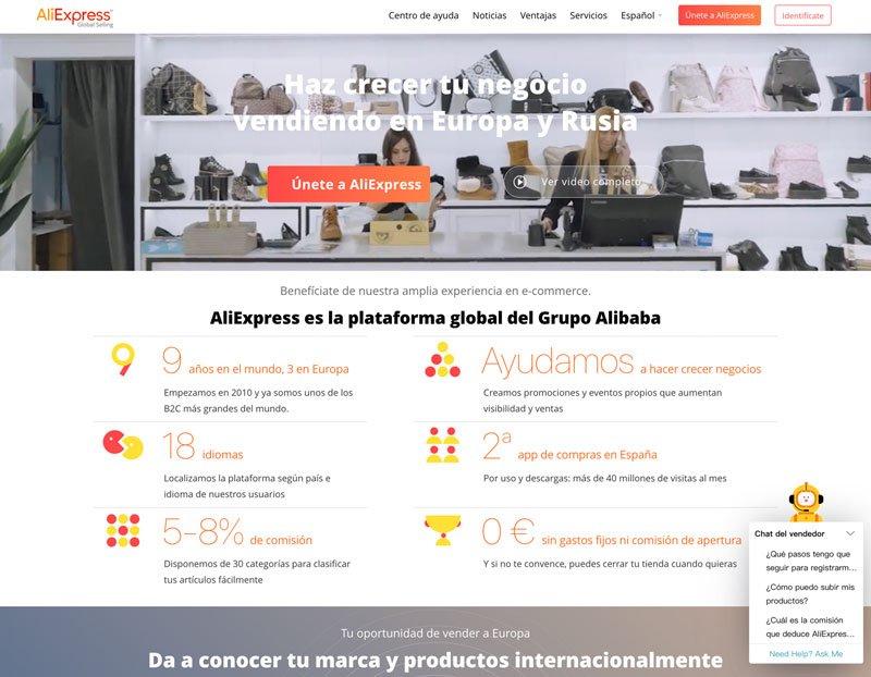 Página principal de registro en Aliexpress como fuente de ingresos