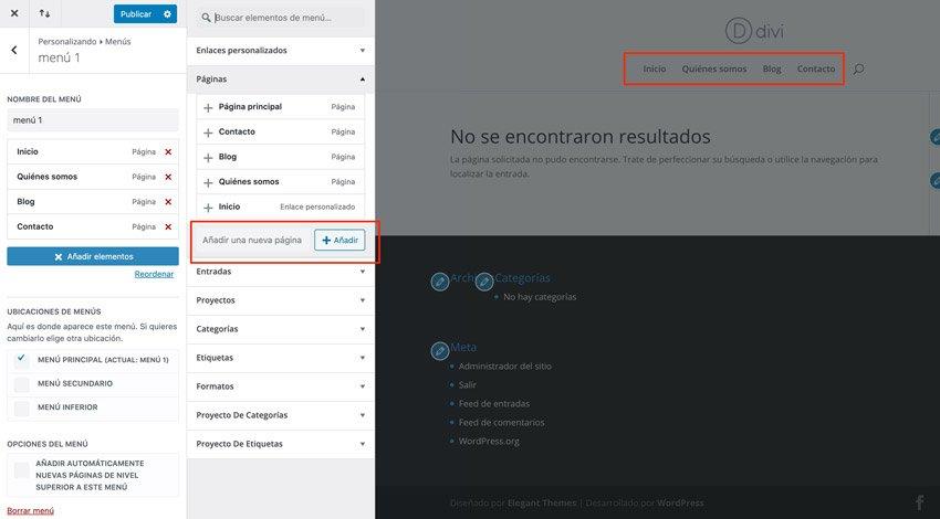 Agregar páginas desde el personalizador de WordPress