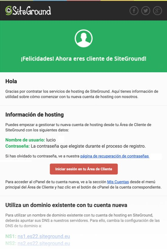 correo de SiteGround con los datos de acceso