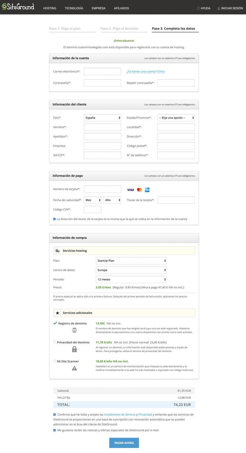 Contratación del hosting en Site Ground para instalar y configurar WordPress