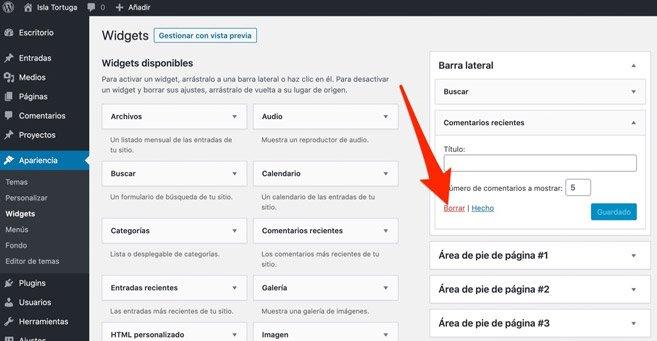 Eliminar Widgets al instalar y configurar WordPress