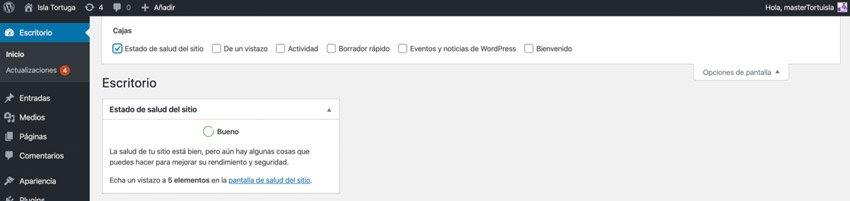 Ocultar ventanas en el escritorio de WordPress