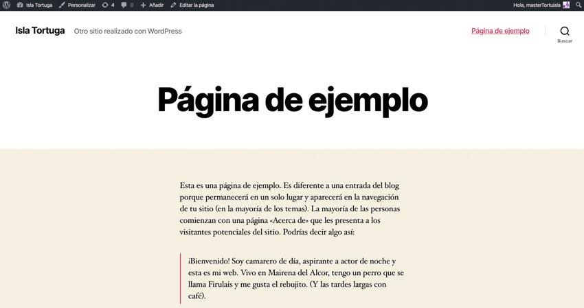 Página de ejemplo que añade WordPress