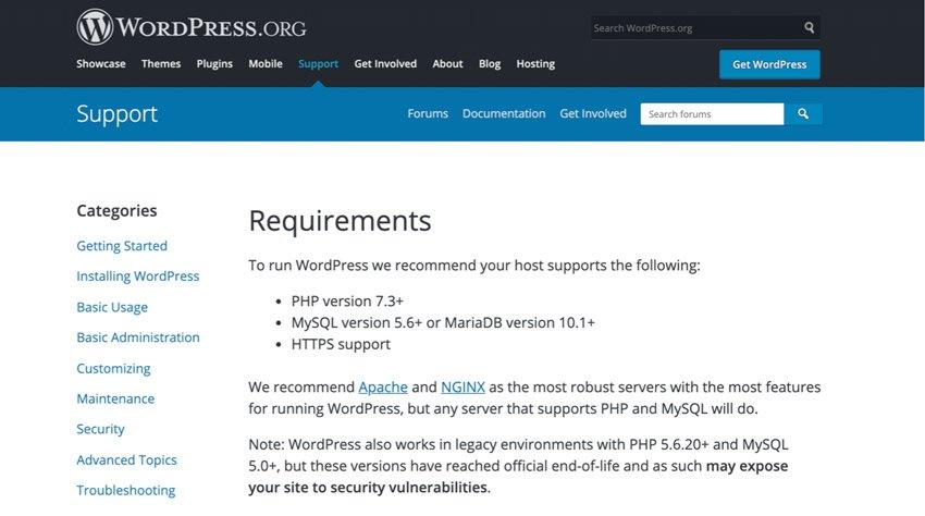Requerimientos para instalar y configurar WordPress