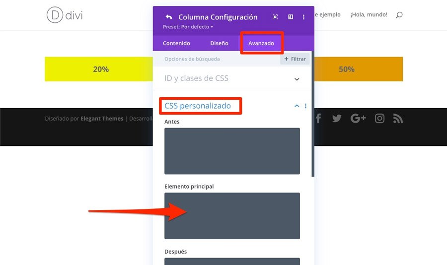 Añadir CSS personalizado para laanchura personalizada de columnas en DIVI